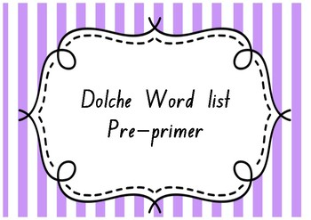 Dolche Sight Word Cards