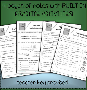 Doler / Cuerpo, Grammar Notes with Built in Practice / Communicative Activities