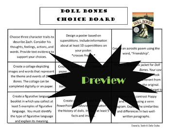 Doll Bones Choice Board Novel Study Activities Menu Book Project Rubric