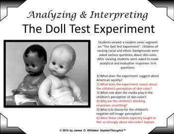 Doll Test Experiment High Order Thinking Analytical Questions Black History