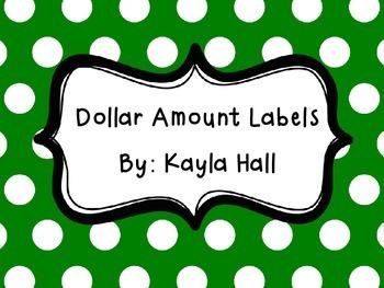Dollar Bill Amount Labels