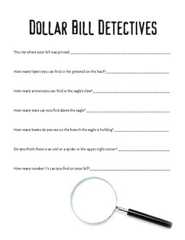 Dollar Bill Detective Activity