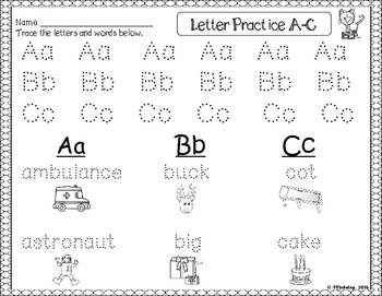 Dollar Deal #1: Alphabet Tracing and Beginning Sounds