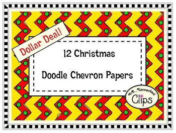Dollar Deal! 12 Christmas Doodle Chevron Papers