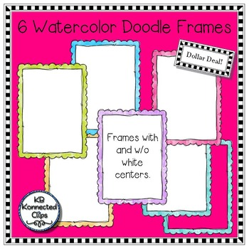Dollar Deal! 6 Watercolor Doodle Frames