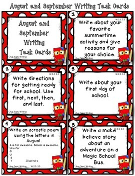 Dollar Deal! August September Writing Task Cards 2nd and 3rd Common Core