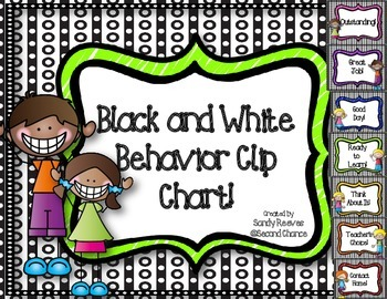 Dollar Deal! Black and White Behavior Clip Chart! Save Your Ink!
