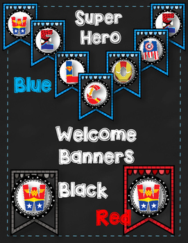 Dollar Deal!  Chalkboard Superhero Welcome Banners {3 Colors}