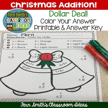 Color By Numbers Christmas Math Addition -  Dollar Deal