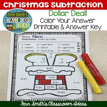 Color By Numbers Christmas Math Subtraction - Dollar Deal