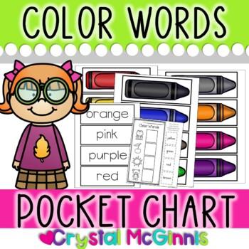 DOLLAR DEAL! Color Words Pocket Chart Sorting Center