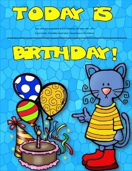 Dollar Deal! Cool Cats Birthday Board! Editable