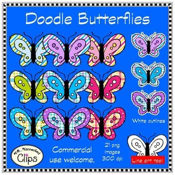 Dollar Deal - Doodle Butterflies - Clip Art
