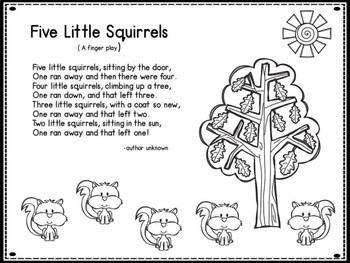 Dollar Deal Five Little Squirrels A Counting Back Poem
