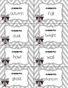 Dollar Deal! Halloween Matching Cards / Partnership Slips! ~Synonyms & Antonyms~