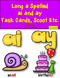 Dollar Deal! Long A {ai and ay} 24 Task Cards and Printables