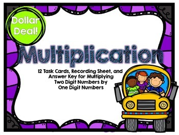 Dollar Deal-Multiplication -12 Task Cards-With and Without QR Codes