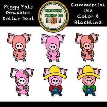 Dollar Deal! Piggy Pals Clipart Set-Color/Blackline