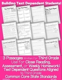 Literature 3rd Grade Passages: Close Reading + Common Core Text Based Questions