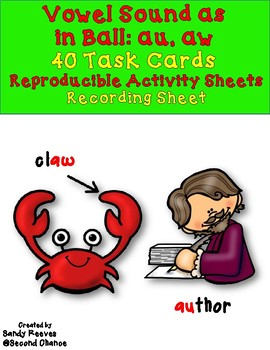 Dollar Deal! Sound as in Ball au and aw Task Cards and Printables