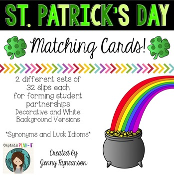 Dollar Deal St Patrick S Day Matching Cards Synonyms Idioms
