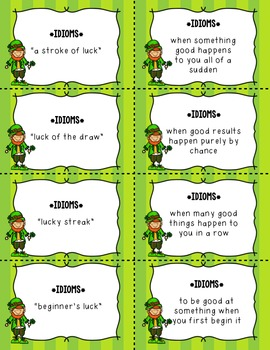Dollar Deal! St. Patrick's Day Matching Cards ~Synonyms & Idioms~