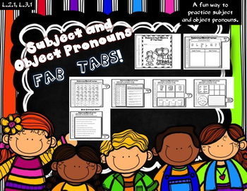Dollar Deal! Subject and Object Pronouns Fab Tabs! Ready to Print!
