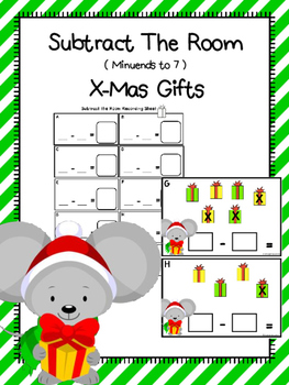 Dollar Deal Subtract The Room (Minuends To 7) Christmas Gifts