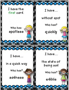 Dollar Deal! Suffixes {-ly, -ness, -less, -ful, -able,} I Have Who Has Game