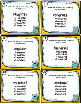 Dollar Deal! Syllables {VCCCV} 40 Task Cards and Printables