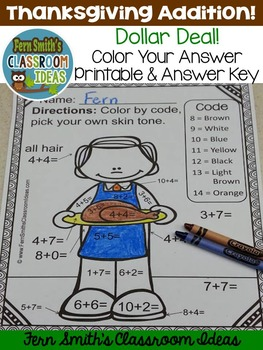 Color By Numbers Thanksgiving Math Addition - Dollar Deal