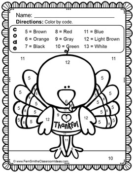 Color By Numbers Thanksgiving Math Know Your Numbers - Dollar Deal