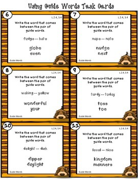 Dollar Deal! Using Guide Words 40 Task Cards {2nd and 3rd} Common Core