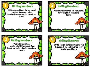 Dollar Deal-Writing Larger Numbers-12 Task Cards-With and Without QR Codes