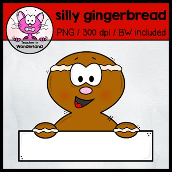 SILLY GINGERBREAD MAN - TOPPERS /PEEKERS clipart for christmas