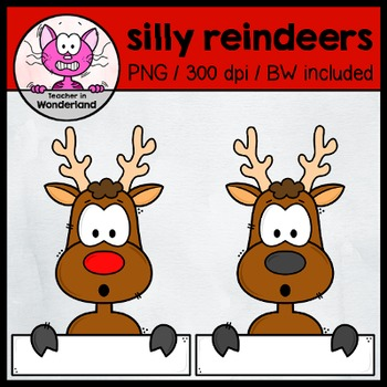 SILLY REINDEER TOPPERS /PEEKERS - clipart for christmas