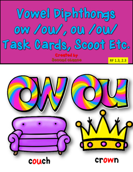 Dollar Deal! ou and ow /ou/ Sound Task Cards and Printables!