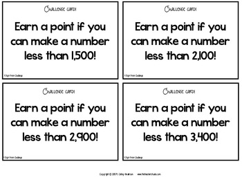 "Dollar Deals:  ""4 Digit Point Challenge"" Place Value game"