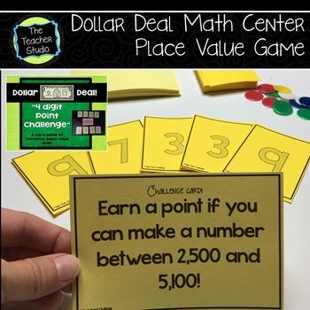 "Dollar Deals:  ""4 Digit Point Challenge"" Place Value game"