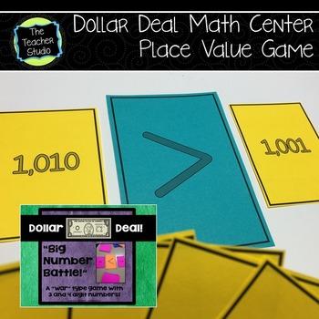 "Dollar Deals:  ""Big Number Battle"" place value sequencing game"