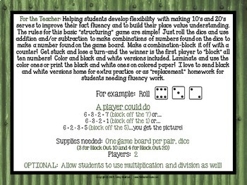"""Dollar Deals:  """"Block Out"""": A Structuring Fact Fluency Game"""