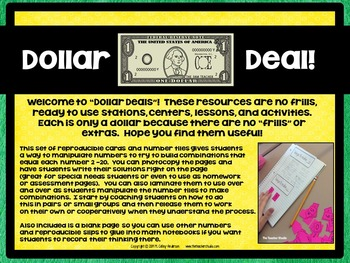 "Dollar Deals:  ""Combinations to make..."" decomposing numbers to 20"