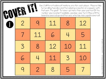 """Dollar Deals:  """"Cover It"""": An Addition Fact Fluency Game"""