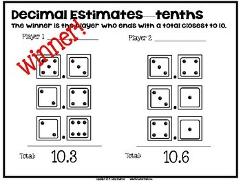 "Dollar Deals:  ""Decimal Estimates"" An addition decimal strategy game"