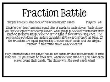 """Dollar Deals:  """"Fraction Battle"""" fraction sequencing game"""