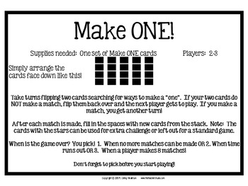 "Dollar Deals:  ""Make a One"" An Addition of Decimals Memory Game"