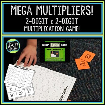 """Dollar Deals:  """"Mega Multipliers"""" Two by Two Digit Multiplication Game"""
