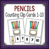 Dollar Deals! Pencils Counting Clip Cards 1-10
