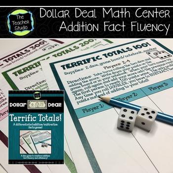 "Dollar Deals:  ""Terrific Totals"": An Addition Fact Fluency Game"