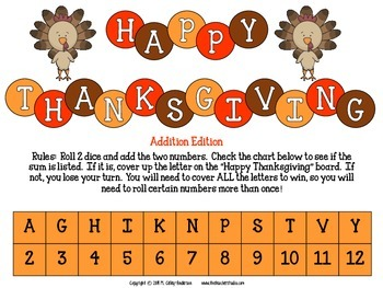 "Dollar Deals:  ""Thanksgiving Addition Challenge"": A Game to Build Fluency"